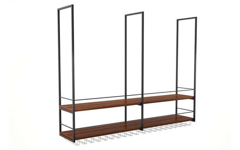 Powder coated construction, wooden shelves