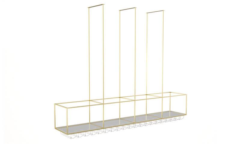 Powder coated construction, glass shelves